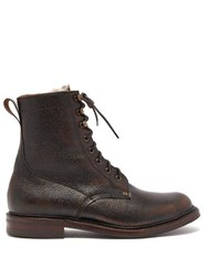 Cheaney Shearling Lined Grained Leather Boots Brown