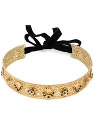 Dolce And Gabbana Embellished Hair Band Gold