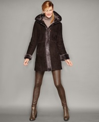 The Fur Vault Shearling Lamb Hooded Coat Brown Brissa