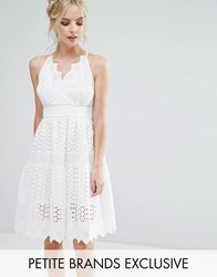 True Decadence Petite Wrap Front Allover Lace Crochet Full Prom Dress White