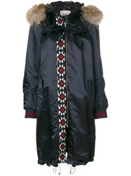 Bazar Deluxe Embroidered Detail Parka Coat Cotton Polyamide Spandex Elastane Racoon Fur Blue