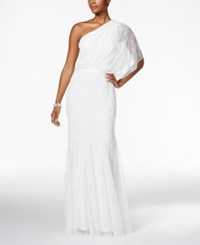 Adrianna Papell Beaded Tulle One Shoulder Gown White
