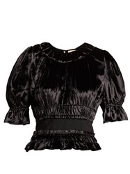 Brock Collection Tammy Gathered Velvet Blouse Black