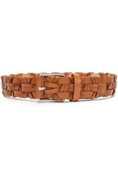 Michael Kors Collection Woman Woven Leather Belt Light Brown