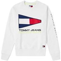 Tommy Jeans 5.0 90S Sailing Logo Crew Sweat White