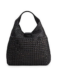 Sondra Roberts Woven Faux Leather Hobo Black