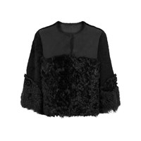 Red Valentino Black Cropped Shearling Jacket