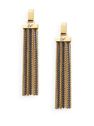 Diane Von Furstenberg All The Glitz Chain Tassel Drop Earrings Gold Silver