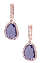 Rose Gold Plated Sterling Silver Synthetic Amethyst And White Topaz Drop Earrings Purple