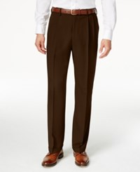Haggar Classic Fit Eclo Stria Double Pleated Dress Pants Brown
