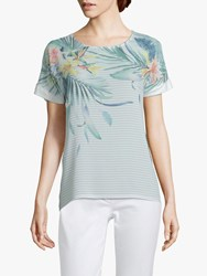 Betty And Co. Floral Stripe Print Top Blue