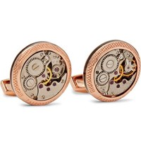 Tateossian Signature Vintage Skeleton Rose Gold Plated Cufflinks Rose Gold