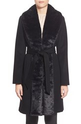 Women's Ellen Tracy Faux Fur Trim Long Wool Blend Wrap Coat Black
