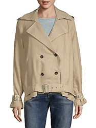 Moon River Double Breasted Button Shirt Trench Jacket Natural