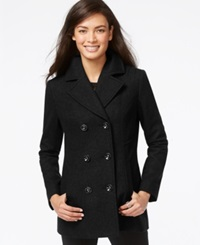 Inc International Concepts Double Breasted Peacoat Black