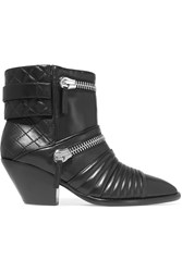 Giuseppe Zanotti Zip Detailed Quilted Leather Ankle Boots Black