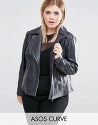 Asos Curve Clean Biker Jacket In Leather Washed Grey