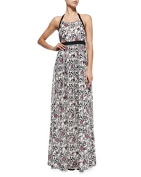 Thakoon Addition Halter Neck Maxi Dress W Scroll Print Pink Multi