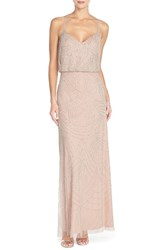 Women's Adrianna Papell Beaded Chiffon Blouson Gown Silver Nude