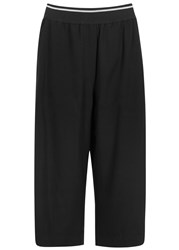 Dkny Black Cropped Twill Trousers