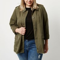 River Island Womens Plus Khaki Green Distressed Stud Army Jacket