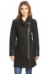 Guess Wool Blend Asymmetrical Zip Moto Jacket Black