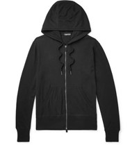 Tom Ford Cotton Silk And Cashmere Blend Zip Up Hoodie Black
