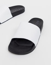Selected Homme Leather Sliders White