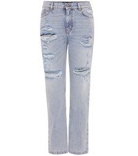 Dolce And Gabbana Embellished Distressed Jeans Blue