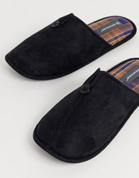 Dunlop Slip On Slipper With Check Lining In Black