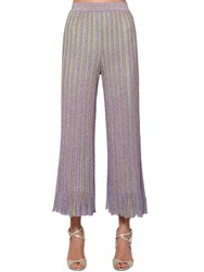 Missoni Cropped Lurex Knit Pants Purple Yellow