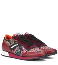 Etro Printed Leather Sneakers Red