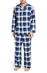 Nordstrom Men's Men's Shop '824' Flannel Pajama Set Navy Blue Ivory Check