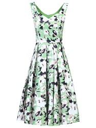 Jolie Moi Sweetheart Neckline Floral Printed Dress Green