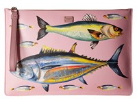 Dolce And Gabbana Leather Fish Pouch Pink Fish
