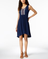 Styleandco. Style Co Petite Embroidered High Low Dress Industrial Blue Nirvana