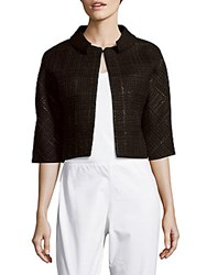 Carolina Herrera Weave Pattern Wool Blend Jacket Black
