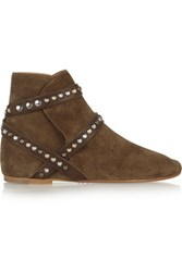 Isabel Marant Etoile Ruben Studded Suede Ankle Boots Brown