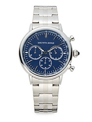 Saks Fifth Avenue Stainless Steel Chronograph Link Watch Blue