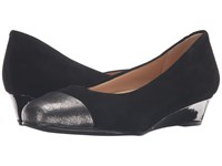 Trotters Langley Black Kid Suede Leather Pewter Embossed Mini Lizard Women's Wedge Shoes