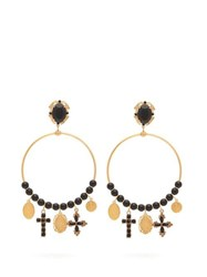 Dolce And Gabbana Beaded Charm Embellished Hoop Clip Earrings Gold