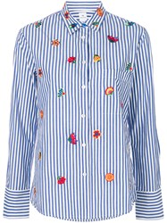 Paul Smith Ps By Flower Embroidered Striped Shirt Blue