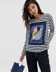 Esprit Sweatshirt With L'amour Text In Stripe Black And White