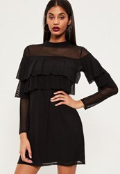 Missguided Black Double Frill Swing Dress