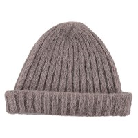 Lowie Mohair Ribbed Fisherman's Beanie In Soft Grey