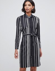 Liquorish Shirt Dress With Open Back In Stripe And Polka Dot Print Black Stripe Spot Navy