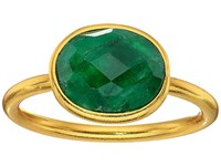 Dee Berkley Single Oval Stone Adjustable Ring Dyed Emerald Green Ring
