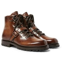 Berluti Brunico Polished Leather Boots Brown