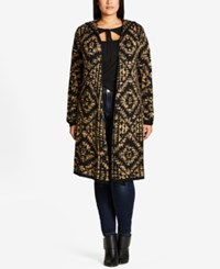 City Chic Trendy Plus Size Hooded Duster Cardigan Toffee