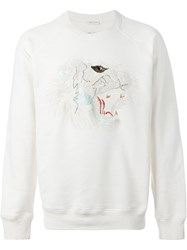 Marc Jacobs Embroidered Fierce Animal Sweatshirt Nude And Neutrals